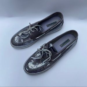 Sperry Silver Sequin Lace Boat Shoes Size 9